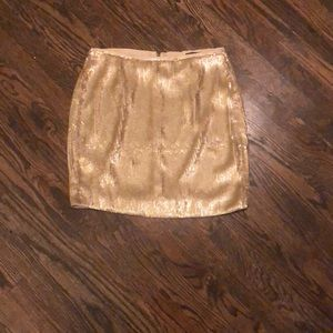 J. Crew gold sequined skirt